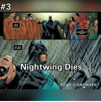 Memes, Airplane, and Vertigo:  #3  HES  GONE.  ABANDONED  AGAIN  MY SON  IS DEAD.  Nightwing Dies  TO BE CONT  UED 3 Nightwing Dies. A death that hit home...despite Damian being the blood son of Batman I always considered Dick Grayson to be the true son of the Bat. When he died it was heartbreaking and the thing is he wasn't blasted apart by Superman, he didn't die in an explosion or fall from a airplane...he broke his neck on a rock...that just goes to show you that the Bat Family are....human. _________________________________ Fantasyfaceoff KawaiiFaceoff KawaiiComics Comics Geek Fantasy Marvel DcComics Movies BoomStudios Helix Anime Manga Memes Vertigo Variant WildStorm Movies かわいいです