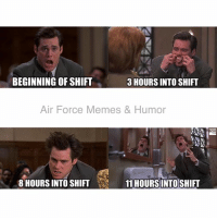 The slow descent of morale  5-0: 3 HOURS INTO SHIFT  BEGINNING OF SHIFT  Air Force Memes & Humor  8 HOURS INTO SHIFT  11 HOURS INTOSHIFT The slow descent of morale  5-0