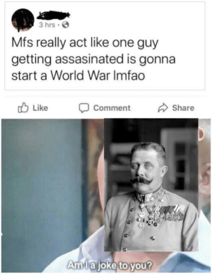 RIP to my boy Franz Ferdinand: 3 hrs ·  Mfs really act like one guy  getting assasinated is gonna  start a World War Imfao  O Like  Share  Comment  Amlajoke to you? RIP to my boy Franz Ferdinand