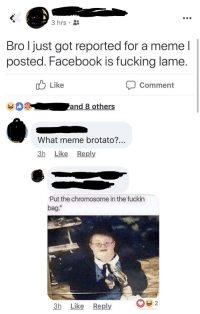 "melonmemes:  Follow us on instagram for the best content!: https://www.instagram.com/realmelonmemes: 3 hrs  Bro l just got reported for a meme l  posted. Facebook is fucking lame  Like  Comment  What meme brotato?  3h Like Reply  Put the chromosome in the fuckin  bag.""  Il  3h Like Reply melonmemes:  Follow us on instagram for the best content!: https://www.instagram.com/realmelonmemes"