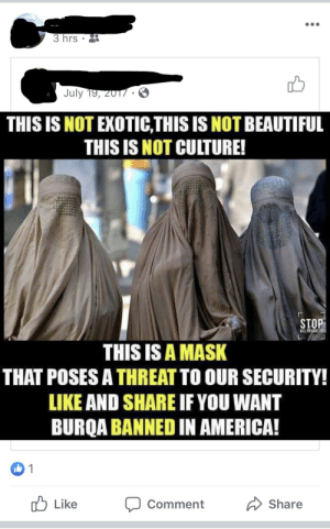 America, Beautiful, and Sad: 3 hrs  July 19, 2017.  THIS IS NOT EXOTIC,THIS IS NOT BEAUTIFUL  THIS IS NOT CULTURE!  STOP  ALL INVABERS  THIS IS A MASK  THAT POSES A THREAT TO OUR SECURITY!  LIKE AND SHARE IF YOU WANT  BURQA BANNED IN AMERICA!  1  Like  Share  Comment Sad to say I'm related to someone who thinks like this