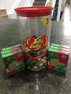 To everyone at work that has been eating my jellybeans..now the fun begins: 3  LBS  Jelly  Belly  OIGINAL GotMET Je  era  5TH  Jelly  Belly  aly  Belly  BEAN  ED  5TH  BEAN  BOOZUED  9 FLAVORS  NALUGHTY  ICE?  NET 36  HAUGHTY  JBLY MA  NICE?  NEWT04 To everyone at work that has been eating my jellybeans..now the fun begins