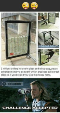 Memes, Money, and Break: 3 millions dollars inside the glass at the bus-stop, put as  advertisement by a company which produces bulletproof  glasses. If you break it you take the money home.  f /die laughter  CHALLENGE ACCEPTED