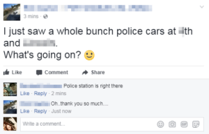 memehumor:  They've swarmed the place!: 3 mins  I just saw a whole bunch police cars at ith  and  What's going on?  Like -Comment ·Share  Police station is right there  Like Reply-2 mins  111.  Like Reply Just now  Write a comment..  Oh.thank you so much.. memehumor:  They've swarmed the place!