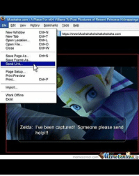 Late night crazy post badsciencejokes: 3 Muahaha.com IA Place For n64 Villians To Post Picstures of Recent Princess  Kidnappings  Edit Mew History Bookmarks Tools Heb  New Window  Ctrl+N  https twww.Muahahahahahahahahaha.com  New Tab  Ctrl+T  Open Location.  Ctrl+L  Open File.  Ctrl+O  Close  Ctrl+W  Save Page As  Ctrl+S  Save Frame As  Send Link.  Page Setup...  Print Preview  Ctrl+P  Print...  Import  Work Offline  Exist  Zelda: I've been captured! Someone please send  help!!!  tMemetenler  meme Center.com Late night crazy post badsciencejokes