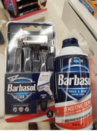 America, Technology, and Drug: 3 PR  USATB  ULTRA-GUARD  EVENLY DISTRIBUTES  SHAVING CREAM TO  MAXIMIZE COMFORT  NEW!  Barbasol  rb  HLTRA  COMFORT  GRIP  THICK &RICH  SHAVING CREAM  CLOSE SHAVE TECHNOLOGY  4  SENSITIVE SK  OTECTS FROM IERITAT  RUST-PROOF ALLM NUM Proudly made in America, not cucked by commies, about $10 at my local drug store.