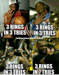 They didn't have to switch teams to get a ring... Trophies🏆: 3 RINGS  3 RINGS  IN 3 TRIESA AINraTRIES  LeBron James  3IRINGS  3 RINGS  IN TRIES IN 7TRIES They didn't have to switch teams to get a ring... Trophies🏆