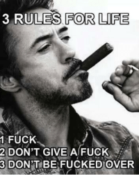 Fuck: 3 RULES FOR LIFE  1 FUCK.  2 DON'T GIVE A FUCK  3 DON'T BE FUCKED OVER
