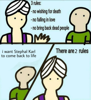 God, Life, and Love: 3 rules:  no wishing for death  no falling in love  -no bring back dead people  There are2 rules  i want Stephal Karl  to come back to life Stephan Karl is a god.