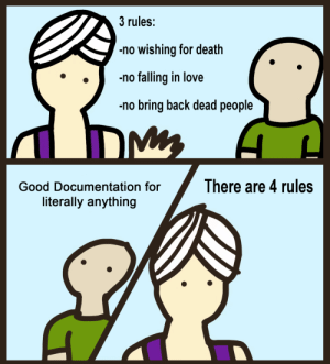Don't you just love reading documentation: 3 rules:  no wishing for death  no falling in love  no bring back dead people  DM  There are 4 rules  Good Documentation for  literally anything Don't you just love reading documentation