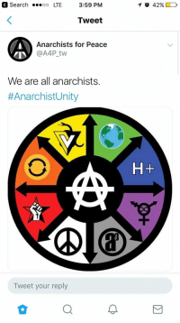 Search, Unity, and Peace: 3 Search  LTE 3:59 PM  10 42%D  Tweet  Anarchists for Peace  @A4P tw  We are all anarchists.  #AnarchistUnity  H+  솝  Tweet your reply