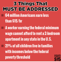 Memes, Minimum Wage, and 🤖: 3 Things That  MUST BE ADDRESSED  64 million Americans earnless  than $15/hr  A worker earningthe federal minimum  wage cannot afford torenta2-bedroom  apartment in any state in the U.S.  21% of all children live in families  with incomes below the federal  FIGHT  poverty threshold  $15 Via Fight for $15