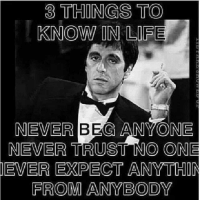 trust no one: 3 THINGS TO  KNOW IN LIFE  NEVER BEG ANYONE  NEVER TRUST NO ONE  IEVER EXPECT ANY THIN  FROM ANYBODY