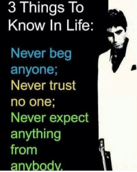 trust no one: 3 To  Things knOW In Life:  Never beg  anyone,  Never trust  no one  Never expect  anything  from  anybody.