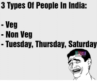 Memes, India, and 🤖: 3 Types of People In India:  Veg  Non Veg  Tuesday, Thursday, Saturday  COM 2 types.