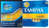 """""""My mum walked into my room and asked why I had a box of tampons on my desk. I've never noticed the similarities..."""": 3 WAY  Leak  intel inside  Protection  TAMPAX  CORE i5  regular  E EE  INTEL CORE i5 PROCESSOR  i5-3570K  Unlocked & Unleashed  LGA1155 """"My mum walked into my room and asked why I had a box of tampons on my desk. I've never noticed the similarities..."""""""