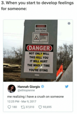 Crush, Head, and Time: 3. When you start to develop feelings  for someone:  DANGER  HIGH VOLTAGE  DANGER  DANGER  NOT ONLY WILL  THIS KILL YOU  IT WILL HURT  THE WHOLE TIME  YOU'RE DYING  Hannah Giorgis  @ethiopienne  me realizing i have a crush on someone  12:25 PM-Mar 9, 2017  180  37,010  93,695 Head first