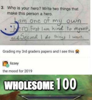We should all try and strive to be like this by QuirkyPheasant MORE MEMES: 3. Who is your hero? Write two things that  make this person a hero.  am one ot my own  bero.First lam kind to myself  an Second do things Iwant  Grading my 3rd graders papers and I see this  lizzey  the mood for 2019  WHOLESOME 100 We should all try and strive to be like this by QuirkyPheasant MORE MEMES
