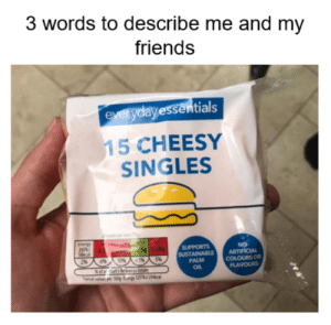 Friends, Dank Memes, and Singles: 3 words to describe me and my  friends  everyday essentials  15 CHEESY  SINGLES  eneren  20 4 n  10cal  S 0.28g  286%1OW%ACA  SUPPORTS  SUSTAINABLE  PALM  OL  NO  ARTIFICIAL  COLOURS OR  FLAVOURS  ca per 100g fa 22 This everyday essential packet of cheese