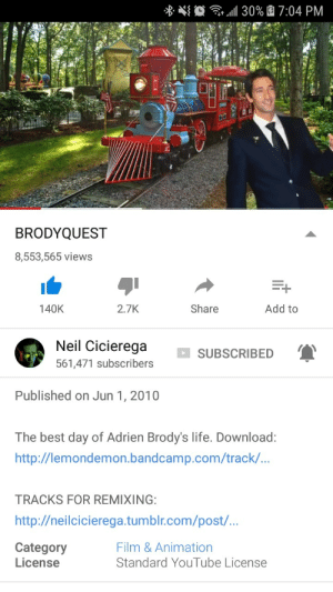 Birthday, Internet, and Life: 30% 7:04 PM  BRODYQUEST  8,553,565 views  Add to  140K  2.7K  Share  Neil Cicierega  SUBSCRIBED  561,471 subscribers  Published on Jun 1, 2010  The best day of Adrien Brody's life. Download:  http://lemondemon.bandcamp.com/track/..  TRACKS FOR REMIXING:  http://neilcicierega.tumblr.com/post/...  Category  License  Film & Animation  Standard YouTube License phase2:happy birthday to the only video on the internet