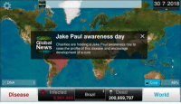 """Bailey Jay, Meme, and News: 30 7 2018  News  Jake Paul awareness dayX  Global  NeWS  Charities are holding a Jake Paul awareness day to  raise the profile of this disease and encourage  development of a cure  DNA  Cure  45%  Dead  200,669,797  Infected  Disease  Brazil  World  9,901,485 <p>I need an appraisal from the meme lords via /r/MemeEconomy <a href=""""http://ift.tt/2wshhae"""">http://ift.tt/2wshhae</a></p>"""