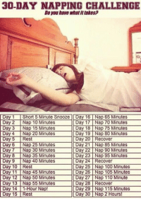 Reclaim your sleep cycle!: 30-DAY NAPPING CHALLENGE  Do you have what it takesp  Day 1 Short5 Minute Snooze Day 16 Nap 65 Minutes  Day 17 Nap 70 Minutes  Day 2 Nap 10 Minutes  Day 3 Nap 15 Minutes l Day 18 Nap 75 Minutes  Day 4 Nap 20 Minutes Day 19 Nap 80 Minutes  Day 5 est  Day 20 Recover  Day 6 Nap 25 Minutes l Day 21 Nap 85 Minutes  Day 7 Nap 30 Minutes Day 22 Nap 90 Minutes  Day 8 Nap 35 Minutes l Day 23 Nap 95 Minutes  Day 9 Nap 40 Minutes  Day 24 Recover  Rest Day 25 Nap 100 Minutes  Day 10 Day 11 Nap 45 Minutes Day 26 Nap 105 Minutes  Day 27 Nap 110 Minute  Day 12 Nap 50 Minutes  Day 13 Nap 55 Minutes l 28 Recover  Day Day 14 1 Hour Nap!  Day 29 Nap 115 Minutes  Day 15 Rest  Day 30 Nap 2 Hours! Reclaim your sleep cycle!