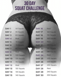 Dare me to try 😂 diet squats challenge yassss haha omg thatsalot lol exercise hard: 30 DAY  SQUAT CHALLENGE  DAY 1 50 Squats  DAY 2 55 Squats  DAY 3 60 Squats  DAY 4 Rest  DAY 5 70 Squats  DAY 6 75 Squats  DAY 7 80 Squats  DAY 8Rest  DAY 9100 Squats  DAY 10 105 Squats  DAY 11 110 Squats  DAY 12 Rest  DAY 13 130 Squats  DAY 14 135 Squats  DAY 15 140 Squats  DAY 16 Rest  DAY 17 150 Squats  DAY 18 155 Squats  DAY 19 160 Squats  DAY 20 Rest  DAY 21 180 Squats  DAY 22 185 Squats  DAY 23 190 Squats  DAY 24 Rest  DAY 25 220 Squats  DAY 26 225 Squats  DAY 27 230 Squats  DAY 28 Rest  DAY 29 240 Squats  DAY 30 250 Squats Dare me to try 😂 diet squats challenge yassss haha omg thatsalot lol exercise hard