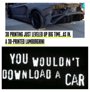 : 30 PRINTING JUST LEVELED UP BIG TIME..AS IN.  A 30-PRINTED LAMBORGHINI  YOU WOULON'T  DOWNLOAD A CAR