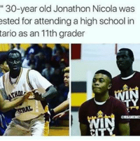 Memes, 🤖, and High School: 30-year old Jonathon Nicola was  ested for attending a high school in  tario as an 11th grader  GEBAMENE AAU Teams Be Like... 💀😂
