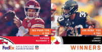 Memes, Congratulations, and Fedex: 303 PASS YDS  4 TDS  146 RUSH YDS  2 TDS  PATRICK  MAHOMES II  JAMES  CONNER  FedEx pL AYERS OFTHEWEEK  AIR & GROUND  WINNERS Congratulations to @PatrickMahomes5 + @JamesConner_ on being named Week 8's @FedEx #AirAndGround Players of the Week! https://t.co/FPy0cGTycm