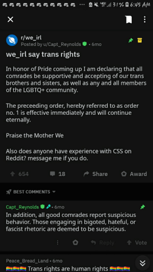 We irl says trans rights!: 31% 0 6:45 AM  YG  r/we_irl  Posted by u/Capt_Reynolds  • 6mo  we_irl say trans rights  In honor of Pride coming up I am declaring that all  comrades be supportive and accepting of our trans  brothers and sisters, as well as any and all members  of the LGBTQ+ community.  The preceeding order, hereby referred to as order  no. 1 is effective immediately and will continue  eternally.  Praise the Mother We  Also does anyone have experience with CSS on  Reddit? message me if you do.  Share  Award  654  18  BEST COMMENTS ▼  '•6mo  Capt_Reynolds  In addition, all good comrades report suspicious  behavior. Those engaging in bigoted, hateful, or  fascist rhetoric are deemed to be suspicious.  Reply  Vote  Peace_Bread_Land • 6mo  Trans rights are human rights We irl says trans rights!