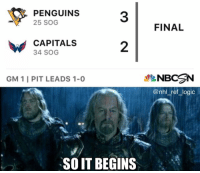 Logic, Memes, and National Hockey League (NHL): 31 FINAL  PENGUINS  25 SOG  CAPITALS  34 SOG  2  GM 1 I PIT LEADS 1-0  NBC N  @nhl_ref_logic  SO IT BEGINS The Caps blow a 2-0 lead in the 3rd, the beginning of the end for the inevitable collapse