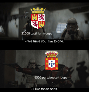 History, Portuguese, and Idea: 31000 castillian troops  - We have you five to one.  6500 portuguese troops  - I like those odds. 4,7 to 1 be more precise but you get the idea