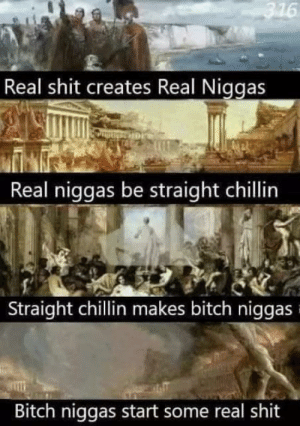 Be Like, Bitch, and Shit: 316  Real shit creates Real Niggas  Real niggas be straight chillin  Straight chillin makes bitch niggas  Bitch niggas start some real shit Sometimes it do be like that.