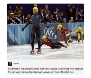 me_irl: 319  apriki  never forget that australias first ever winter olympics gold was won because  the guy was coming dead last and everyone in front of him fell over me_irl