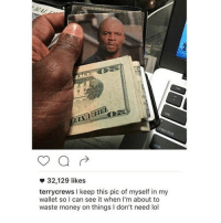 Clique, Memes, and Singing: 32,129 likes  terry crews l keep this pic of myself in my  wallet so I can see it when I'm about to  waste money on things l don't need lol Also I managed not to sing Hamilton the entire time I was in the car BUT I TOTALLY CAVED AT ONE LAST TIME GOTTA SING MY WASHINGTON SONG marvel fandom textpost funnypost tumblr clean doctorwho hungergames mockingjay text jeremyrenner hawkeye avengers tumblrpost meme tumblr bandom patd panicatthedisco brendonurie clean funny funnypost music bands falloutboy clique top twentyonepilots memes joshdun tylerjoesph