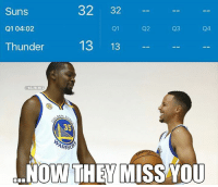 Fire, Nba, and Live: 32 32  Suns  Q104:02  Q3  Q2  Q1  13 13  Thunder  HNBAMEMES  DEN  35  ARRO  NOW THEY MISS YOU SUNS ARE ON FIRE🔥🔥  Follow LIVE: bit.ly/ClutchPoints