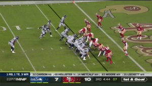 With @DangeRussWilson... the play is never over. 😳  #Seahawks take the lead!   📺: #SEAvsSF on ESPN 📱: NFL app // Yahoo Sports app Watch free on mobile: https://t.co/SlB0VGjZhH https://t.co/5jqOT7MzOb: 32 CARSON RB  48 HOLLISTER TE 14 METCALF WR 83 MOORE WR  16 LOCKETT WR  1 RB, 1 TE, 3 WR  8-0 10 3RD 4:44 07  7  ESFTMNF  1st & Goal  7-2 With @DangeRussWilson... the play is never over. 😳  #Seahawks take the lead!   📺: #SEAvsSF on ESPN 📱: NFL app // Yahoo Sports app Watch free on mobile: https://t.co/SlB0VGjZhH https://t.co/5jqOT7MzOb