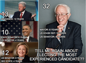 """Bernie Sanders, Bill Clinton, and Crime: 32  GOVERNOR: 13 YEARS  MAYOR: 8 YEARS  US HOUSE REP: 16 YEARS  US SENATOR: 8 YEARS  STATE SENATOR: 6 YEARS  US SENATOR: 4 YEARS  TELL ME AGAIN ABOUT  ELECTING THE MOST  US SENATOR: 8 YEPERIENCED CANDIDATE??  SEC STATE: 4 YEARS britneys-shaved-head: c-bassmeow:   britneys-shaved-head:   c-bassmeow:  Ironic how Bernie""""doesn't have experience""""   ironic how Bernie """"isn't part of the establishment""""   Establishment doesn't mean you are a politician. It means you are a politician that is bought by the forces that perpetuate the status quo. Hillary Clinton is literally funded by Wall Street and big pharma. She left Iowa to go to the financial  sector to fundraise like literally yesterday or the day before that. Nice try.   No the establishment is a group of elite people who hold power over everyone else and any United States senator is apart of the establishment, especially one who has held that power for nearly 3 decades. Yes it includes Wall Street and drug companies but congress is still a huge part of it  💤💤💤anyways. If you're going to compare Bernie sanders who isn't even near being a millionaire to Hillary Clinton who has received MILLIONS from Wall Street and big pharma  and who has reversed on universal healthcare and who is worth over $40 million than you are playing yourself. Of course congress holds power but not everyone in congress is corrupt. Bernie spoke out against Bill Clinton's deregulation of Wall Street, Clinton's crime bill also known as the new Jim Crow which put millions of POC in jail, Clinton's DOMA , against Bush's Iraq war and patriot act… Like give me a break. He has been against the system for the most part he just uses his power for good. Tell that to Clinton who claims campaign finance reform is important yet she directly works with her super PAC. Like you're boring me with these talking points. Brushing off her Wall Street ties under the rug as if they don't matter is a spit on the face to all poor pe"""