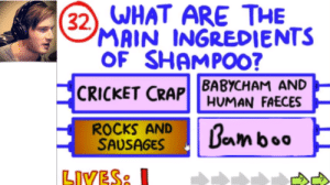 Non-wedding meme/post, sorry. but still a combination of the minecraft videos(2019) and Pewd's video from 2013.: 32). WHAT ARE THE  MAIN INGREDIENTS  OF SHAMPO0?  CRICKET CRAP |BABYCHAM AND  HUMAN FAECES  ROCKS AND  SAUSAGES  Beamboo  LIVES: Non-wedding meme/post, sorry. but still a combination of the minecraft videos(2019) and Pewd's video from 2013.