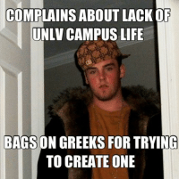 COMPLAINS ABOUT LACK OF  UNLV CAMPUS LIFE  BAGS ON GREEKS FOR TRYING  TO CREATE ONE --Fair criticism from Rebecca Owens