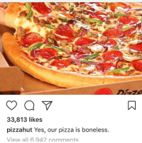 boneless: 33,813 likes  pizzahut Yes, our pizza is boneless.  View all 6.942 comments