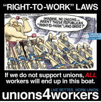 Memes, 🤖, and Union: 33  IMAGINE, UNIONS II  THESE REPUBLICAN  RIGHT TO-WORK UNIONS 4  WORKERS  on FB & Twitter  OD  OD  If we do not support unions,  AL  workers will end up in this boat.  LIVE BETTER. WORK UNION  unions 2+Workers Enough said.