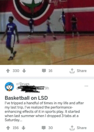 awesomacious:  Sounds quite interesting.: 330  16  t, Share  r/Drugs  9h  Basketball on LSD  I've tripped a handful of times in my life and after  my last trip, I've realized the performance-  enhancing effects of it in sports play. It started  when last summer when I dropped 3 tabs at a  Saturday...  156  30  t, Share awesomacious:  Sounds quite interesting.