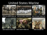 Accurate or not? Don't Forget To Check Out Our NEW Marine T-shirt! See It HERE==>>http://teespring.com/MarineApparel: United States Marine  WHAT MY FRIENDS THINK IDO WHAT MY FAMILY THINKS I DO  WHAT THE ARMYTHINKSIDO  WHAT RECRUITS THINKIDO WHAT SOCIETY THINKS i DO  WHAT I ACTUALLY DO Accurate or not? Don't Forget To Check Out Our NEW Marine T-shirt! See It HERE==>>http://teespring.com/MarineApparel