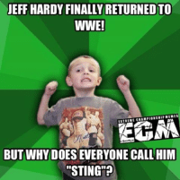 """How come Jeff Hardy's face paint is only black and white now?: JEFF HARDY FINALLY RETURNEDTO  WWE!  EXTREME CHAMPIONSHIP MEMES  BUT WHY ONE CALL HIM  """"STING""""? How come Jeff Hardy's face paint is only black and white now?"""