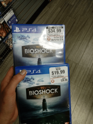 Only at Gamestop: $34.99  ro Price:$31.49  ite Pro Price S27.  BIOSHOCK  NEW  $19.99  WAS  O $39.99  BIOSHOCK Only at Gamestop