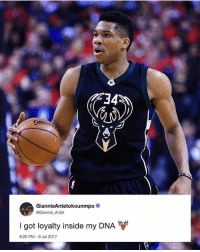 Will Giannis retire a Buck? A bold thing for someone to tweet being that he could be the NBA's next big superstar and he might want-have to go ring chasing somewhere down the line...🤔 (via @ballgod): 34  DNT  GiannisAntetokounmp0  @Giannis An34  I got loyalty inside my DNA  8:20 PM 6 Jul 2017 Will Giannis retire a Buck? A bold thing for someone to tweet being that he could be the NBA's next big superstar and he might want-have to go ring chasing somewhere down the line...🤔 (via @ballgod)