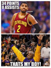 Kobe Bryant approves of Kyrie Irving vs. the Utah Jazz! #NoAssists: 34 POINTS  O ASSISTS  @NBAMEMES  THATS MY BOY! Kobe Bryant approves of Kyrie Irving vs. the Utah Jazz! #NoAssists