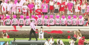 """The University of Georgia called for a """"pink out"""" at today's home game to honor Wendy Anderson. Wendy is the late wife of Blake Anderson, their opponent Arkansas State's, head coach. A moment of silence was also held in her honor. Well done, Dawg Nation.: 34  RENMVERMB ER WE ND Y The University of Georgia called for a """"pink out"""" at today's home game to honor Wendy Anderson. Wendy is the late wife of Blake Anderson, their opponent Arkansas State's, head coach. A moment of silence was also held in her honor. Well done, Dawg Nation."""